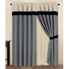 New Gray Black Beige Curtain Valance Panels Liner Tie back Set Beige Curtains, Window Curtains, Curtain Sets, Window Coverings, Windows, Luxury, Modern, Gray, Home Decor