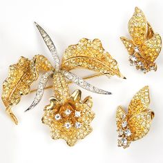 Boucher Citrine and Topaz Rhinestone Orchid Pin and Clip Earrings Set, 1967