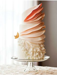 peach and creme, ombre, ruffled wedding cake || Baltimore Bride 2013