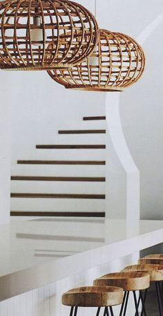 I am happy to say I have a new lighting obsession. The more and more I see cane, wicker, woven Abaca, and rattan basket lighting, the more I find myself trying to figure out how… Pendant Light Fixtures, Pendant Lighting, Wicker Pendant Light, Pendant Lamp, Deco Ethnic Chic, Home Design, Interior Design, Design Ideas, Interior Stylist