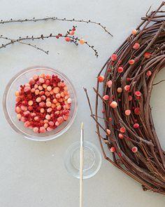 Pom-Pom Berry Wreath - Step 2 - MarthaStewart.com or maybe needle felted balls