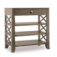 Traditional Tiered Wood Accent Table with One Drawer and Cross Detailing