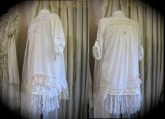 Romantic Lacey Shirt, layered white and creme laces, mori girl theme by Dede of TatteredDelicates