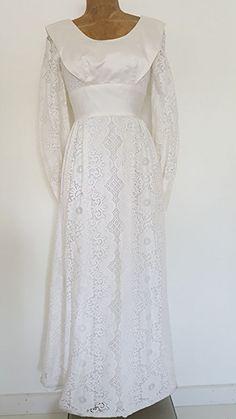 Vintage 60s Lori Deb Wedding Dress Size Small Empire Waist Lace Veil Satin Trim…
