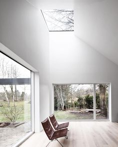 """in leth & gori's renovation project in denmark, the designers add a new roof which feature many skylights that open up the house towards the tree tops and…"""