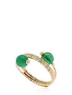 ROSANTICA - ORBITA GREEN QUARTZ RING - RINGS - GOLD/GREEN - LUISAVIAROMA - Gold plated brass. Green quartz beads . Adjustable. Nickel free