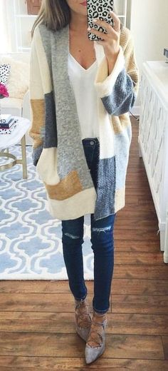 summer outfits  Printed Cardigan + White Top + Ripped Skinny Jeans