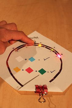 Shows which LED colors could light up in parallel. The higher voltage group: white(3.2v) and blue(3.3v) can light at the same time. Likewise, the lower voltage group: red(1.9v), green(2.1v) and yellow(2v) can light too. But mixing the colors of the two groups does not work due to the difference in the voltages unless you use resistors. This simple guide was really helpful to explain to visitors what works and what doesn't.