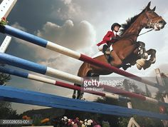 Stock Photo : Rider on horse, jumping double rail gate, low angle