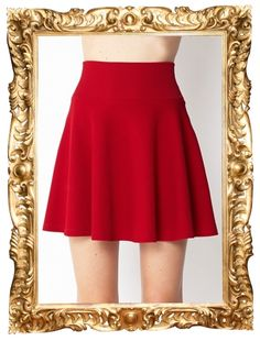 Textured Skater Skirt in Red - $19.80 (see it in black too)