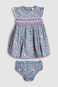 26d20dc6b Buy Lilac Ditsy Smock Prom Dress And Pants Set (0mths-2yrs) from the Next  UK online shop
