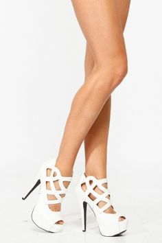 Qupid White Abstract Cut Out Peep Toe Heels