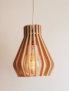 Lampshade Suspension Pendant Light Lighting Cage Wooden Diamond - Vintage and Industrial Design OHE Wood Desk Lamp, Wood Lamps, Table Lamp, Impression 3d, Style Vintage, Vintage Design, Cnc, Wood Pendant Light, Cage Light