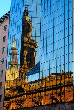 Old and new (reflection of the Cathedral), Plaza de Armas, Santiago, Chile by iancowe, via Flickr