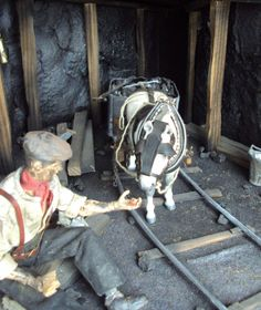Coal miner and pit pony, Breyer model horse custom Performance set up.  Sold on eBay 3/21, seller ruslingcustoms (UK)  eBay