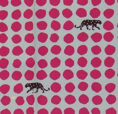 Latest Designer Fabric 'Tiger Spots in Blue + Pink' by Etsuko Furuya (JPN). Designer Fabrics, curtains, blinds, cushions online
