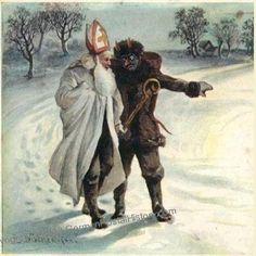 Saint Nicholas and Krampus, 1901 Austrian Christmas postcard