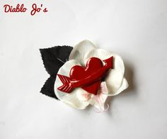 50's Inspired Valentines heart hair flower , Rockabilly, Vintage, Pin Up by DiabloJos on Etsy