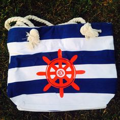 A personal favorite from my Etsy shop https://www.etsy.com/listing/237236153/monogrammed-nautical-striped-tote