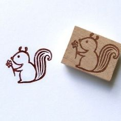 Loving squirrel - Hand Carved Rubber Stamp
