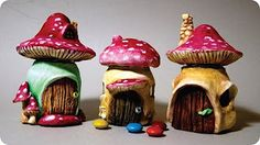 how to make a mushroom out of clay - YouTube