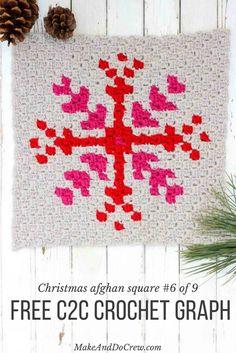 This free c2c crochet graph makes a graphic, modern, monochromatic snowflake…