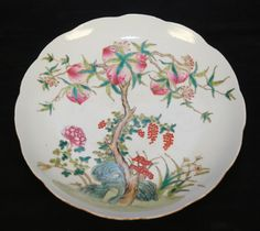 Chinese plate with painted peach tree
