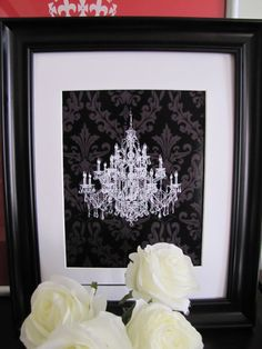 white chandelier on black shadow damask art print on etsy 500 damask bedroomdamask decorbedroom - Damask Bedroom Ideas