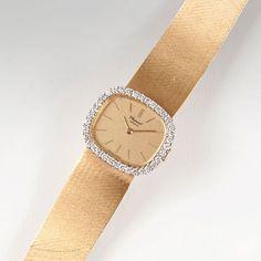 Chopard gegr. 1860 in Sonvilier Damen-Armbanduhr mit Brillant-Besatz Um 1960. 18 und 14 kt. GG, gest — Armbanduhren