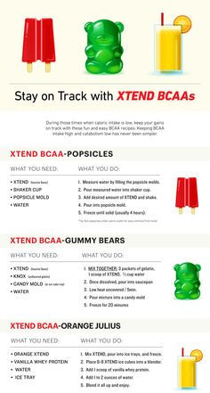 Looking for a fun way to stay on track and keep up with your BCAA intake throughout the day? Consider these Xtend BCAA recipes to mix things up. Acide Aminé, Bodybuilding Recipes, Protein Foods, Protein Recipes, Whey Protein, Gummy Bears, Healthy Treats, Healthy Desserts, Recipe Cards
