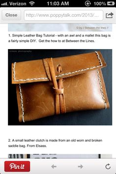 elsass :: DIY leather clutch from old leather bag Diy Leather Clutch, Best Leather Wallet, Leather Gifts, Handmade Leather, Leather Bags, Vintage Leather, Leather Satchel, Leather Diy Crafts, Leather Projects