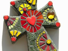 Royal Red & Gold Mosaic Cross by TheMosartStudio on Etsy, $50.00
