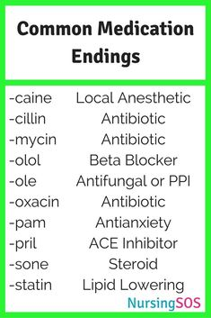 Common Medication Endings You Need to Know in Nursing School. Click through for your FREE printable resource library. Print it out and take it with you to clinical like a boss!