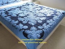 Hawaiian quilt bedspread wall hanging handmade 100% hand quilted/appliqued 80x80