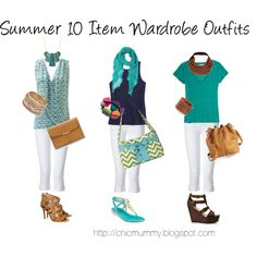 Summer 10 Item Wardrobe Outfits by chicmummy on Polyvore featuring Calypso St. Barth, J.Crew, True Religion, Forever 21, Michael Kors, Cole Haan, Tory Burch, Asprey, Wet Seal and One Button