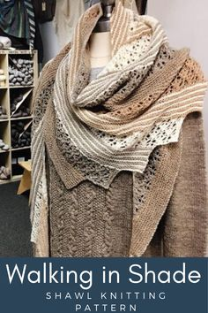 Walking In Shade – Bare Naked Wools Knitted Shawls, Crochet Scarves, Crochet Shawl, Lace Shawls, Knitting Scarves, Lace Knitting, Knitting Patterns Free, Knit Scarves Patterns Free, Knitting Ideas