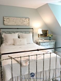 Blue for Bedroom- Benjamin Moore Woodlawn Blue, best blue paint colour. Kylie M Interiors E-decor, design and ONline Colour Consulting services Blue Green Paints, Blue Paint Colors, Bedroom Paint Colors, Paint Colors For Home, Blue Paint For Bedroom, Blue And Cream Bedroom, Color Blue, Farmhouse Style Bedrooms, Farmhouse Bedroom Decor