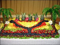 luau - ha fun palm trees made from pineapples and palm fronds