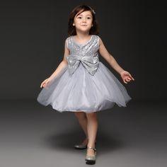 Pettigirl 2015 Designer Girl Party Dresses Sequined Formal Dress For Little Girl Bow Childen Princess Dress 3 Color Kid Clothes