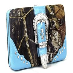 Handbags, Bling & More! Western Blue Camouflage Buckle Clutch Opera Wallet : Camouflage Wallets