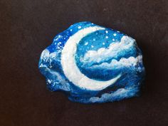 Moon rock painted paperweight stone - painted rock - moon and stars magic moon office decor on Etsy, $20.00
