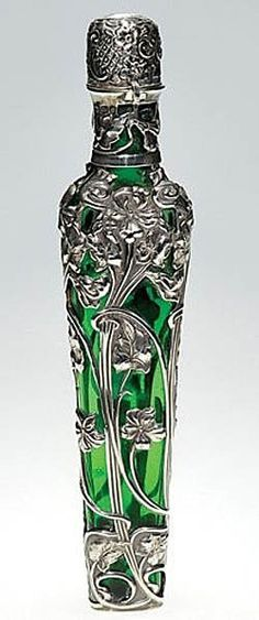 English silver and glass perfume bottle - Art Nouveau