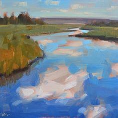 Another great tiny painting from Carol! DPW Fine Art Friendly Auctions - Cloud River by Carol Marine