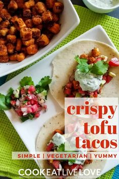 This great tasting tofu recipe is perfect for the beginner tofu eater. The tofu is cooked until crisp and full of tons of flavor. This vegetarian taco recipe is sure to become a regular for your family's taco tuesday nights! Discover how to easily make tofu taste great. Vegetarian Bean Recipes, Tofu Recipes, Entree Recipes, Healthy Recipes, Tofu Tacos, Recipe Tonight, Tofu Dishes, Taco Recipe