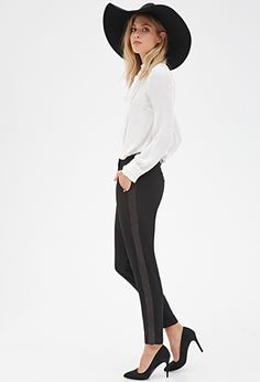 Satin-Striped Trousers | FOREVER 21 - 2000118810