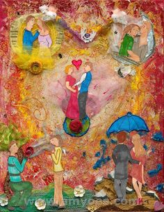 Mixed Media Art I created for my wedding invitation!  Gratitude Takes Guts - from my blog http://www.allspiceandacrylics.blogspot.com/2015/06/gratitude-takes-guts.html a reflection on life's beautiful detours and gratitude.  More at amyoes.com!