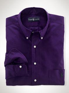 Polo ralph lauren thin striped mens dress shirt orange for Purple polo uniform shirts