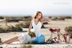 Bohemian Wedding gown from Chiffon, French lace , Boho style dress, Romantic and Dreamy Wedding Dress