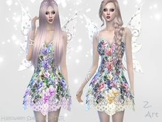 Everywhere flowers, delicate shining wings and lace at skirt hem .... your Sims will look amazing with this costume at Halloween :D Found in TSR Category 'Sims 4 Female Young Adult Party'