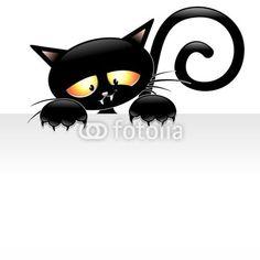 Adesivo Desenhos animados do gato preto com Painel Gatto nero con Pannello